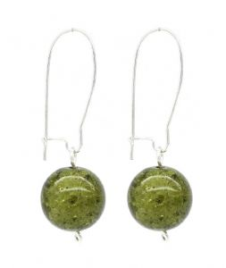 Dark Olive Green Crackled Glass Bead Ball Drop Earrings - Kidney Ear Wire